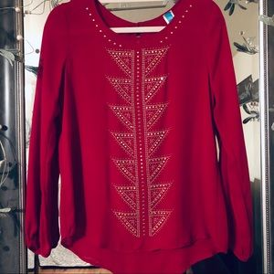 FRANCESCA'S Red Gold Studded Flowy Long Sleeve Top
